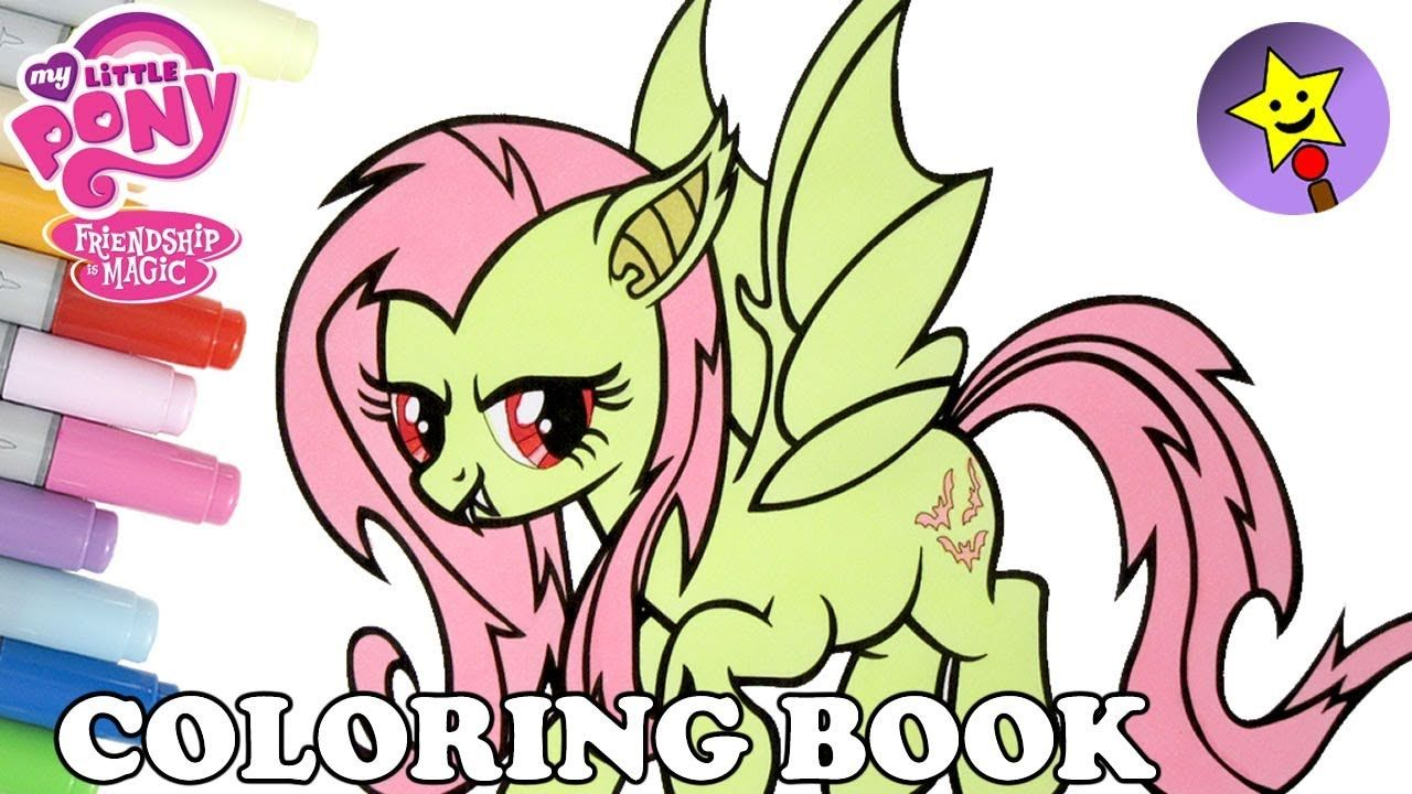 Flutterbat Coloring Book Page Video Fluttershy Coloring Book Page Video My Little Pony Coloring Halloween Coloring Book My Little Pony Coloring Coloring Books