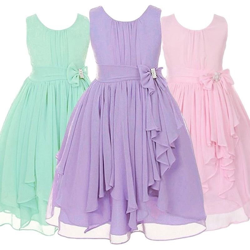 Flower Girl Chiffon Princess Dress Kid Party Pageant Wedding ...