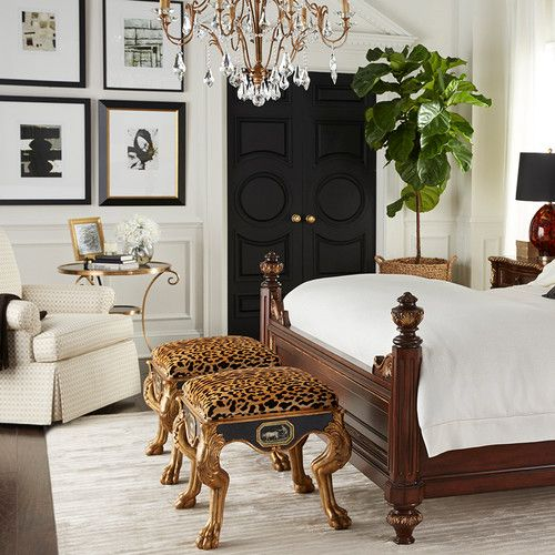 Leopard Stools With Antique Brass Legs, Complemented By The Dark Doors +  Glam Chandelier