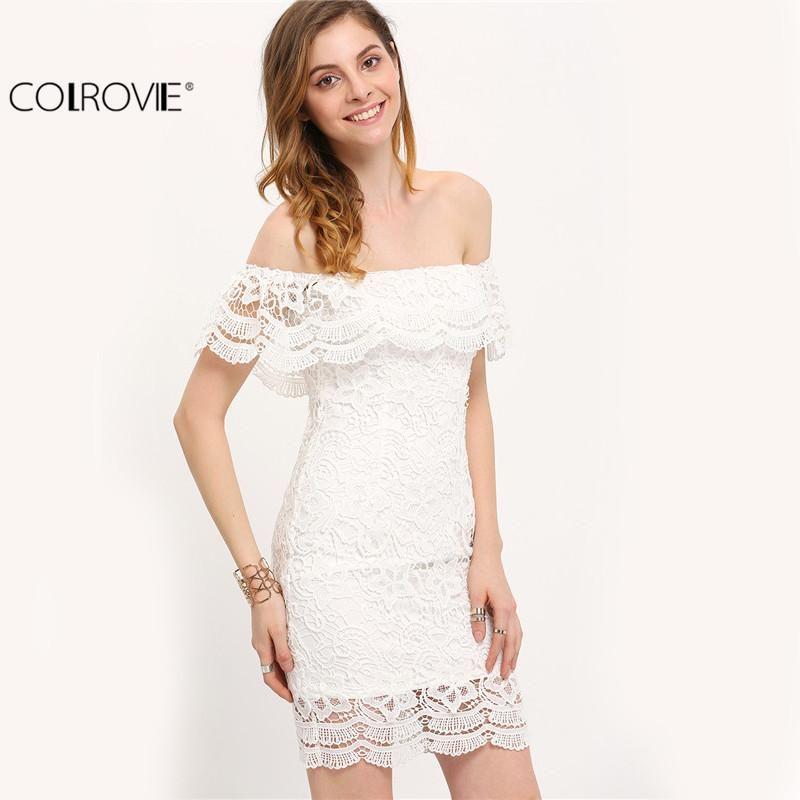 360f6d834d1 Gender: Women - Brand Name: COLROVIE - Neckline: Slash neck - Sleeve  Length(cm): Short - Sleeve Style: Off the Shoulder - Season: Summer -  Material: ...