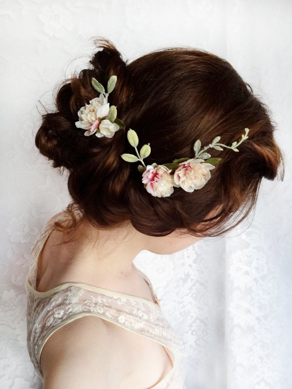 ivory flower hair pins, pink bridal hairpiece, cream wedding