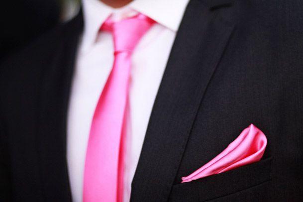fushia hot pink tie black suit groom | Wedding Stuff | Pinterest ...