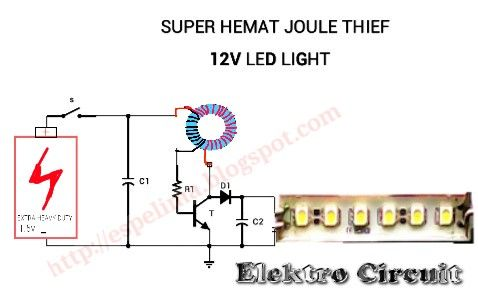 Joule thief 1.5v to 12v led light circuit super hemat | Electronice ...