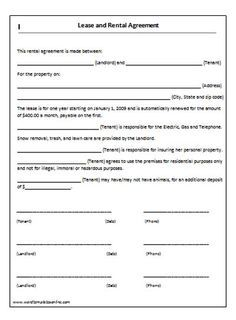 Printable Sample Lease Agreement Templates Form  Damen