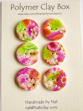 Millifiori polymer clay buttons by polymerclaybox