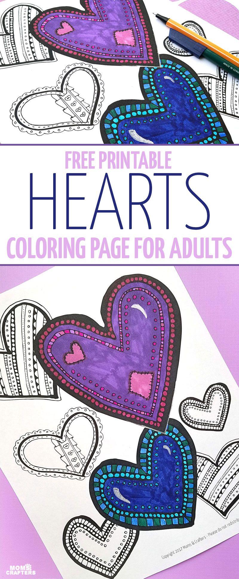 Free Printable HEARTS coloring page! | Valentinstag und Herzchen