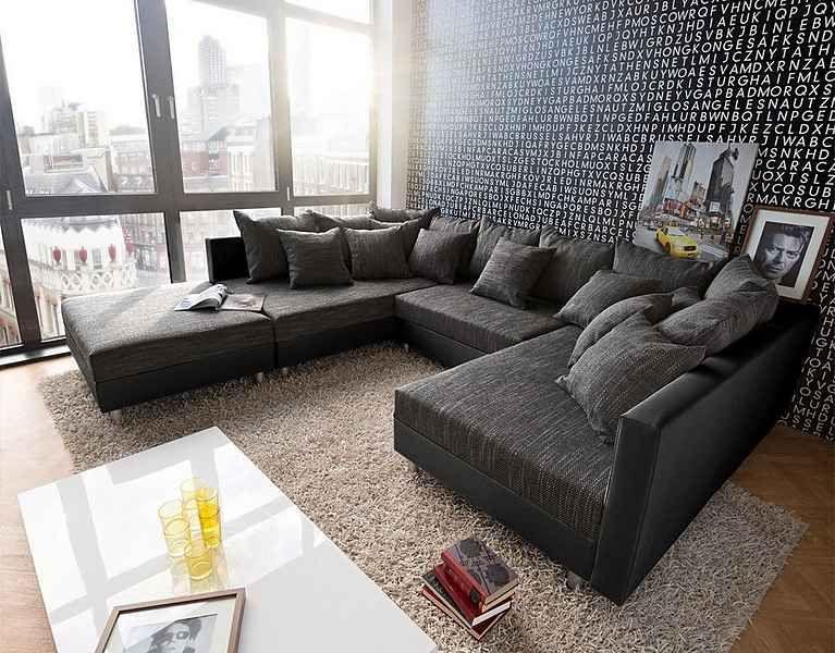 DELIFE Couch Clovis Schwarz mit Hocker Wohnlandschaft Modulsofa - big sofa oder wohnlandschaft