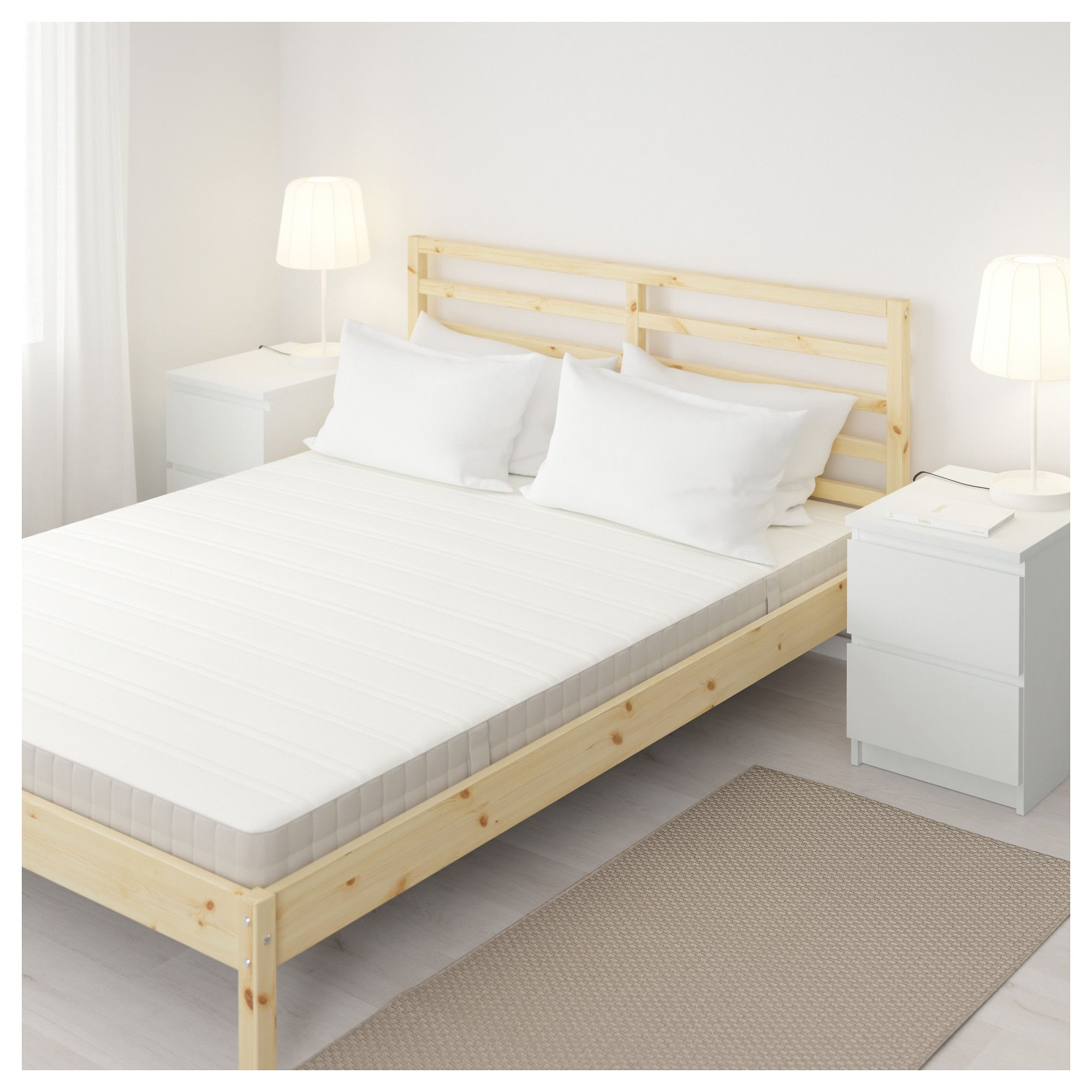HASVÅG Spring mattress medium firm, beige Full Bed
