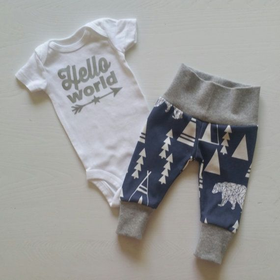 90e0ed5384afb Baby Boy Newborn Take Home Outfit. Hello World Teepees. Bears. Arrow ...