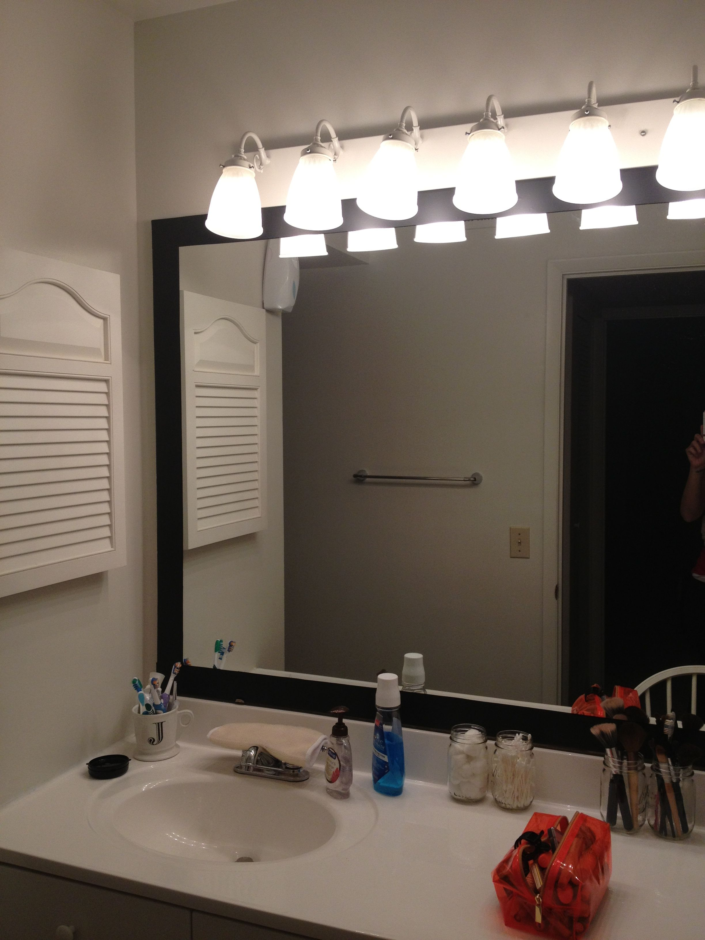 Dyi Temporary Mirror Frame For Apartment I Used Black Contact