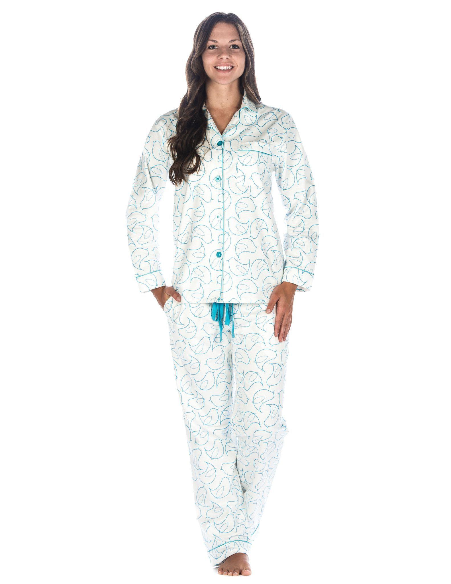 Flannel cardigan womens  Boxed Pacakged Womens Premium Cotton Flannel Pajama Sleepwear Set