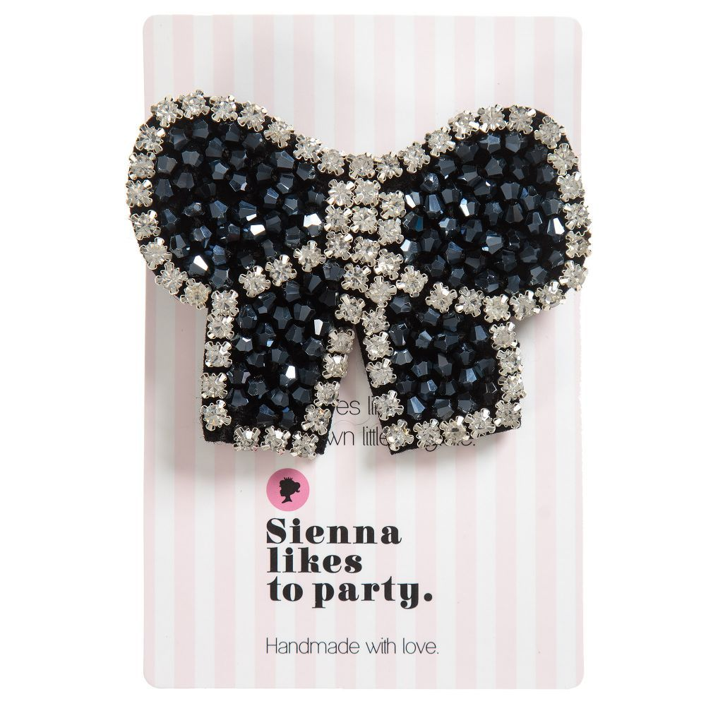 Truly glamorous, girls will adore this pretty handmade bow hairclip by Sienna likes to party, with sparkly black and cleargems. Perfect for any occasion, it has an alligator clip so it can be placed anywhere in the hair with ease.