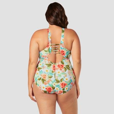 bbf0a9966ba1e Women s Plus Size Slimming Control High Neck One Piece Swimsuit - Beach  Betty by Miracle Brands Blue Floral 3X  High