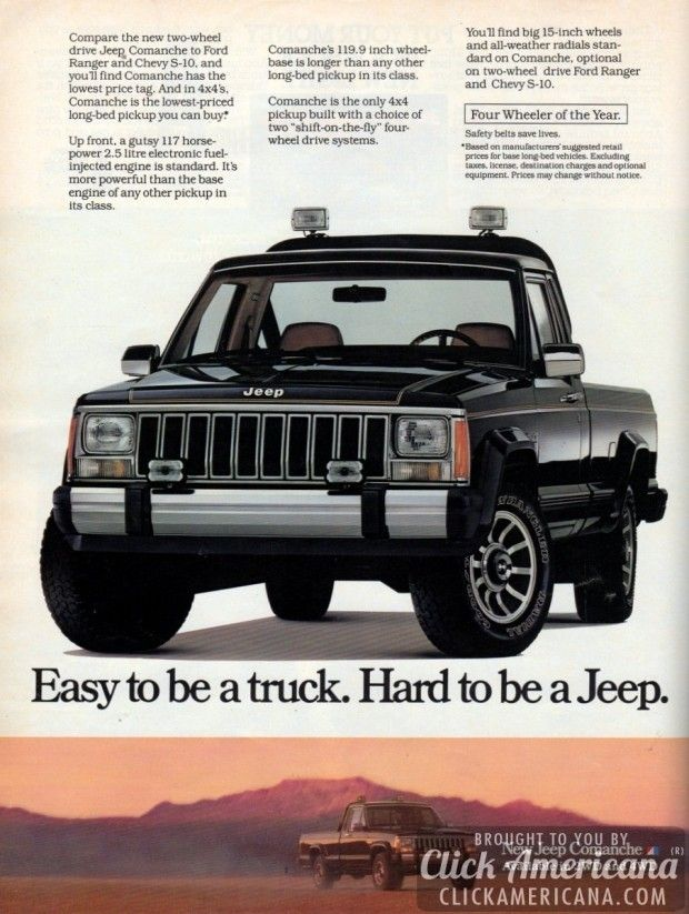 The New Two Wheel Drive Jeep Comanche 1986 Jeep Vintage Jeep Pickup Trucks