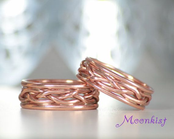 Wide Braided Wedding Band Set In Copper Braided Ring Set Fall