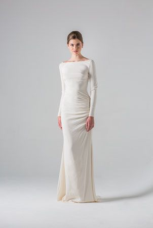 Colmar Anne Barge Spring 2016 Collection Elegant Column Dress Of Silk Crepe With Bateau Neckline And Long Sleeves