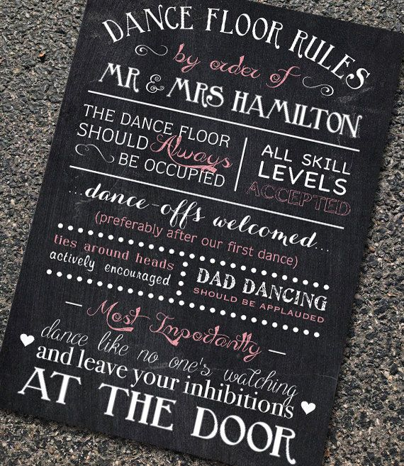 Rustic Chalkboard Style Wedding Reception Sign In Any Size Dance