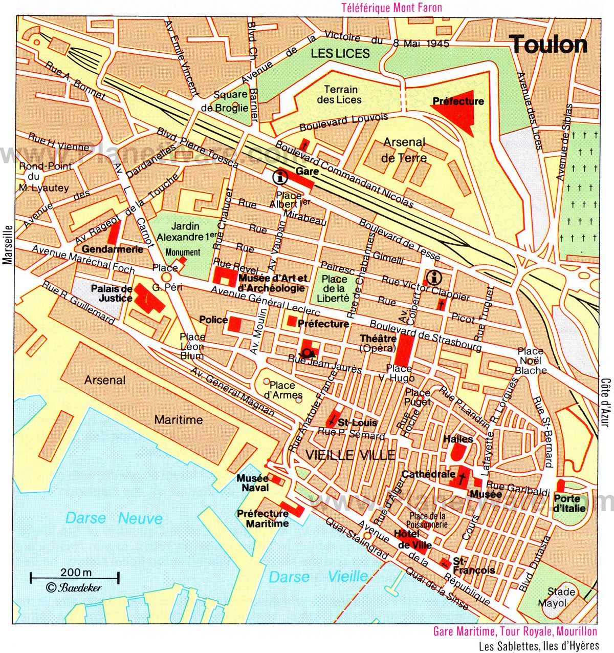 maps to print | Map of Toulon Attractions | PlanetWare ...