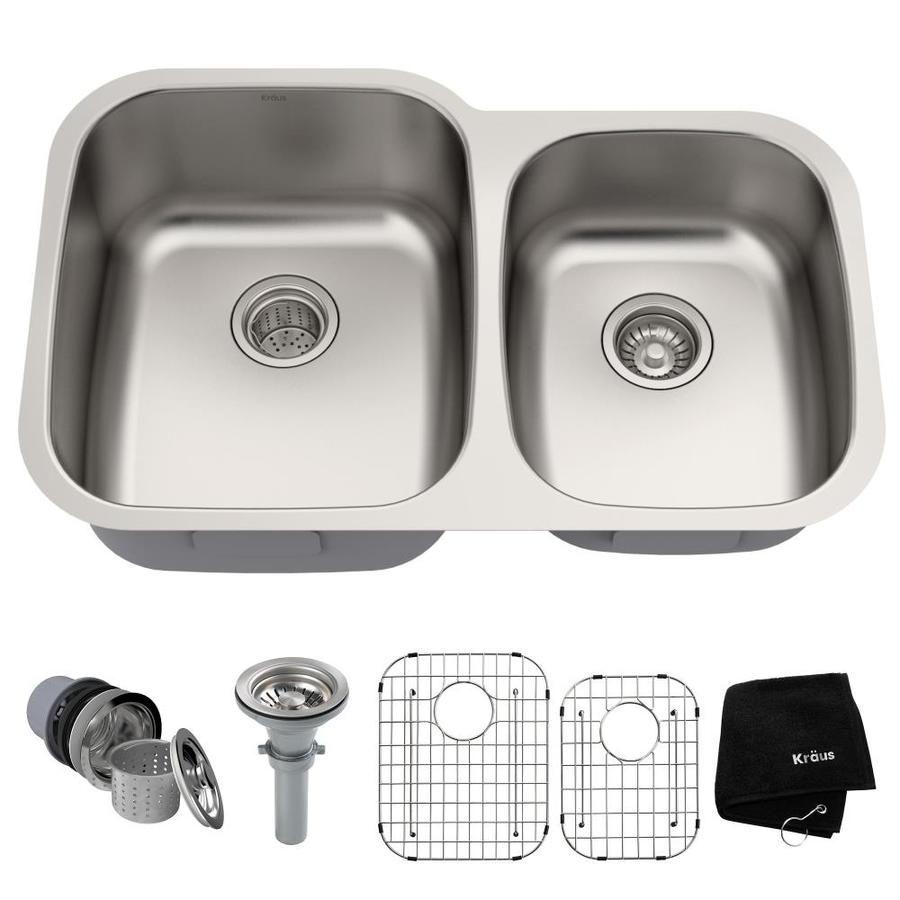 Kraus Premier Kitchen Sink 32 In X 20 63 In Stainless Steel Double