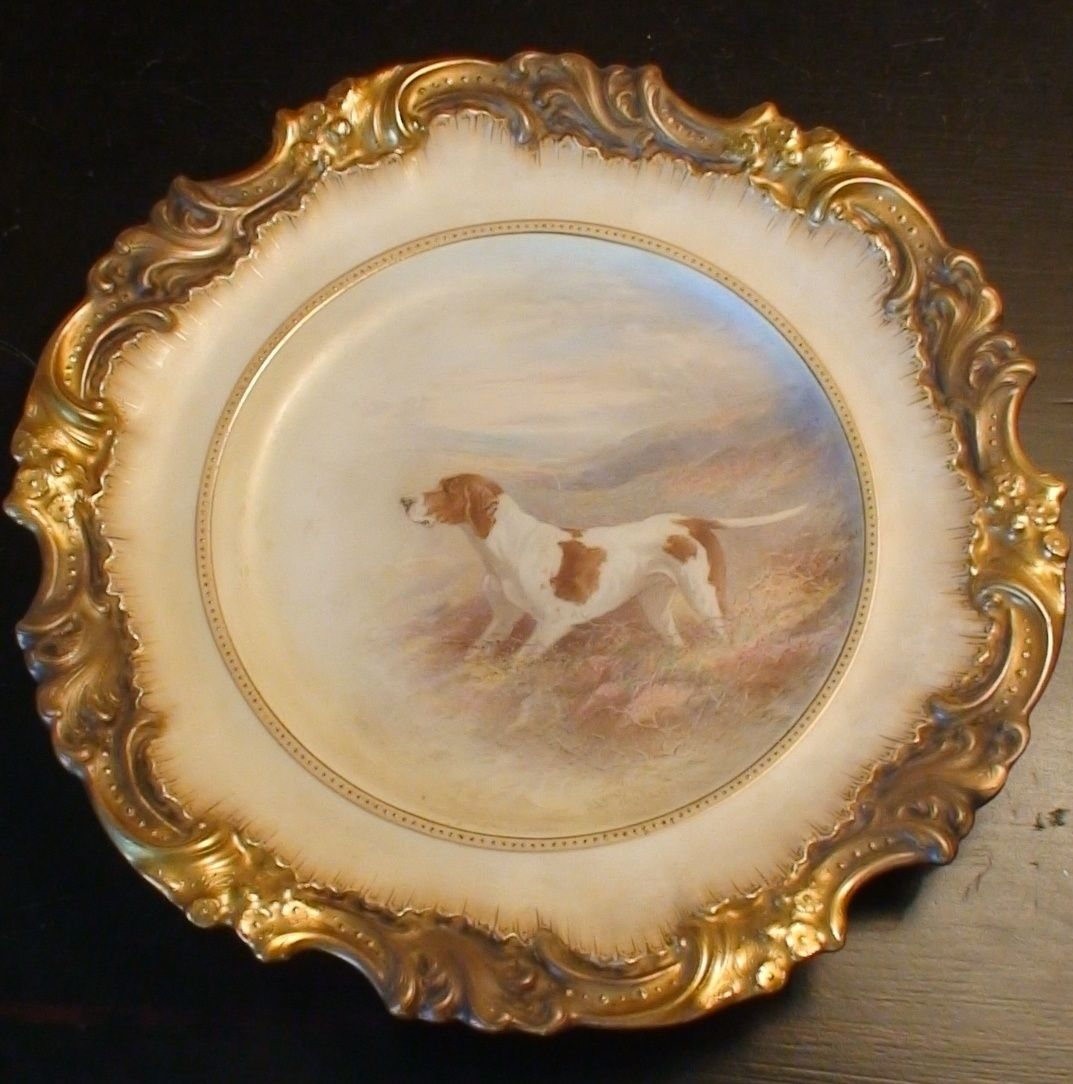 Very Rare Antique Hand-Painted Dog Plate Royal Doulton/Burslem By Henry Mitchell | & Very Rare Antique Hand-Painted Dog Plate Royal Doulton/Burslem By ...