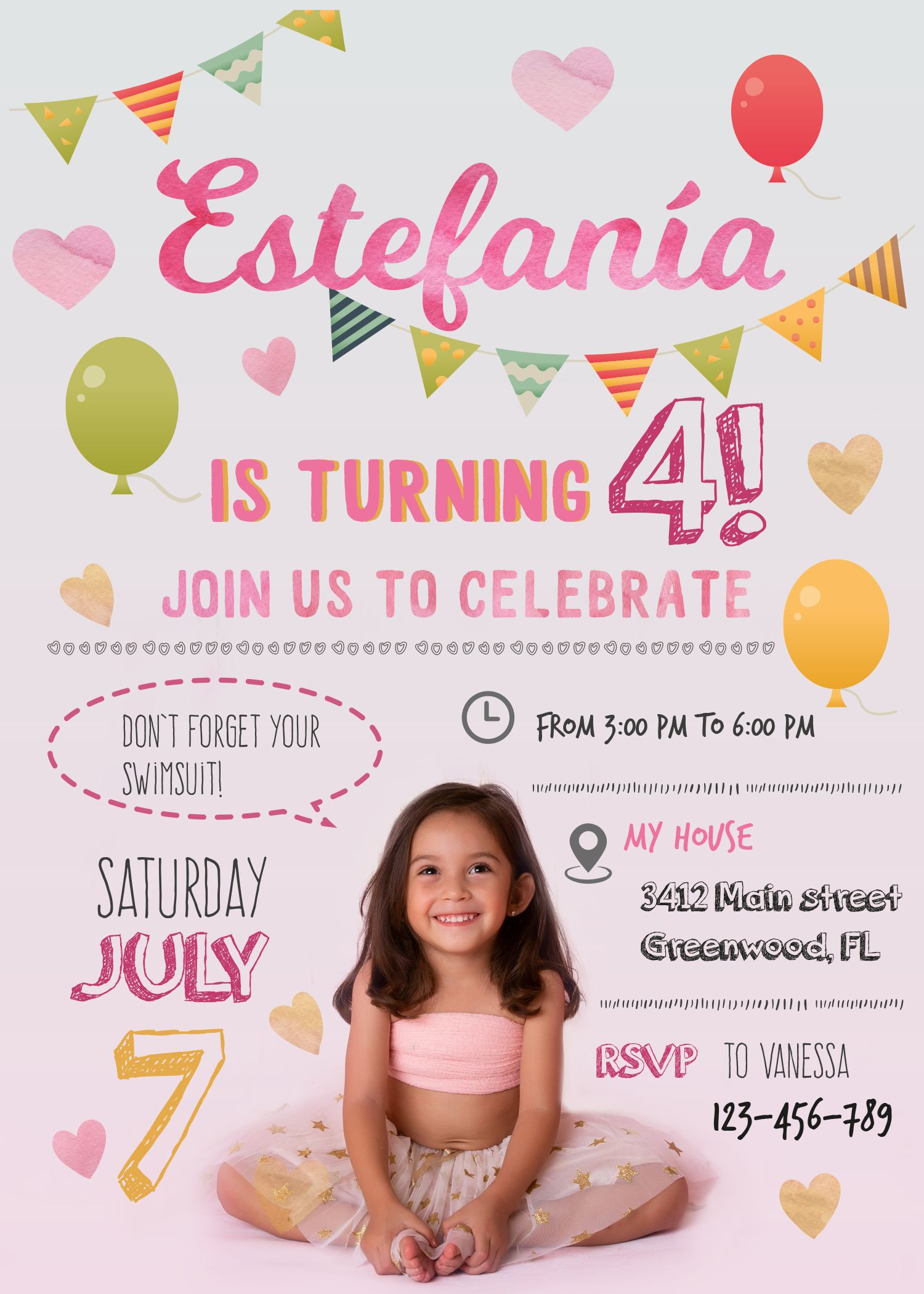Personalized Birthday Invitation Photo Illustration Party Decoration Cards DIY Funny Toddler