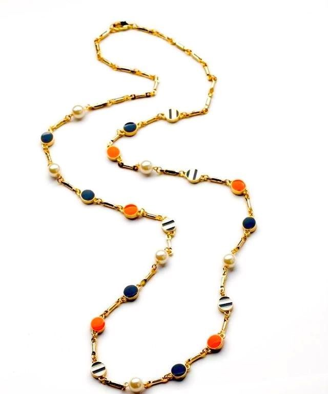 NEW Gorgeous Gameday Blue Orange Charm Pearl Long Necklace | Blue ...
