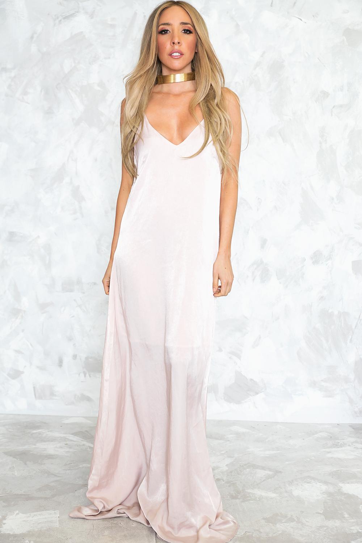 bfea17c890e Satin Slip Maxi Dress - Soft Blush – Haute   Rebellious