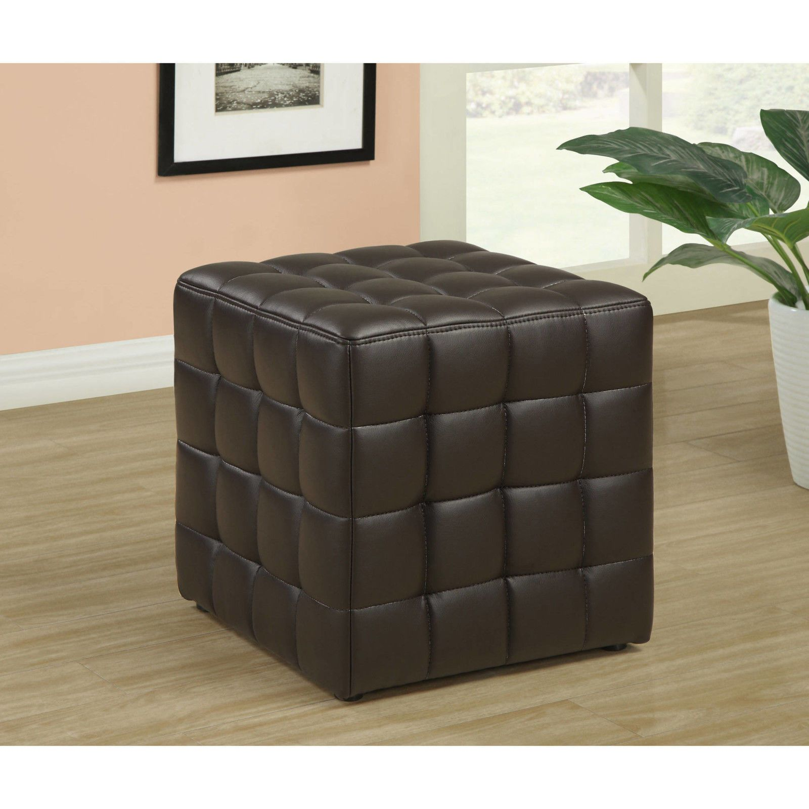 Brown Leather Ottoman Chair Tufted Seat Foot Bed Room