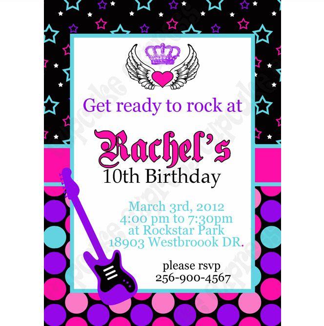 Rockstar Printable Invitation 1 Birthday party – Rock Star Party Invitations