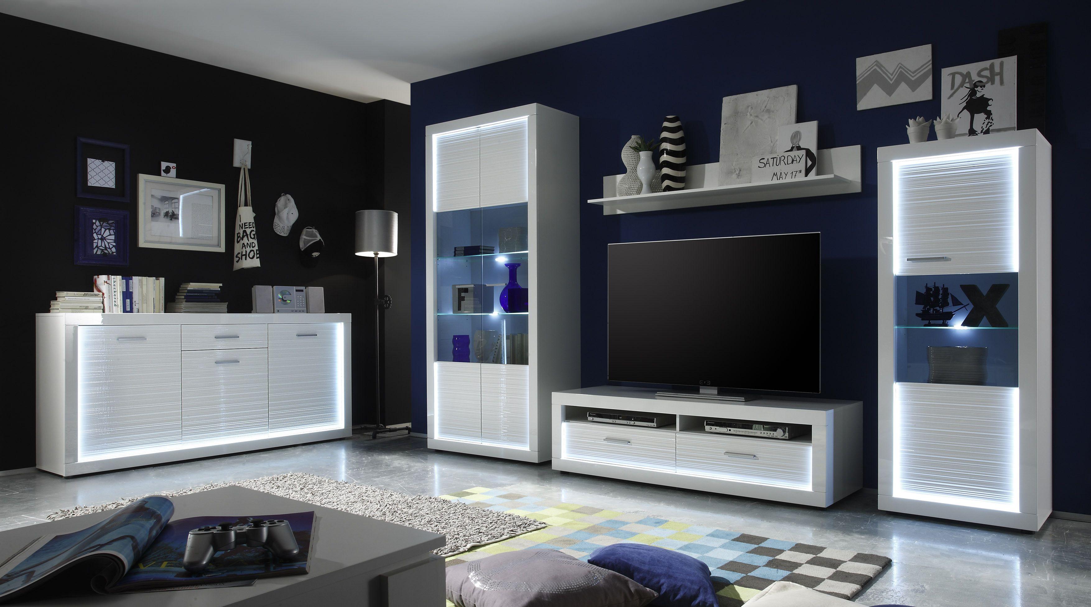 Wohnwand Mit Sideboard Weiss Hochglanz Rillenoptik/ Weiss Nachbildung Woody  93 00727 Holz Modern Jetzt