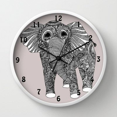 Grey Elephant Clock With Numbers Kids Clock By