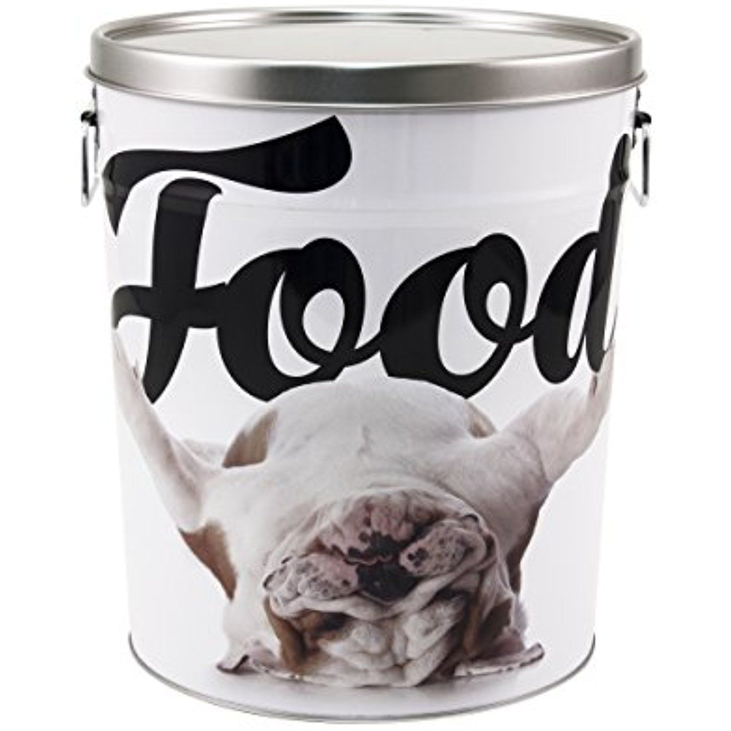 Paw Prints 15 Pound Tin Pet Food Container Carlos The Bulldog