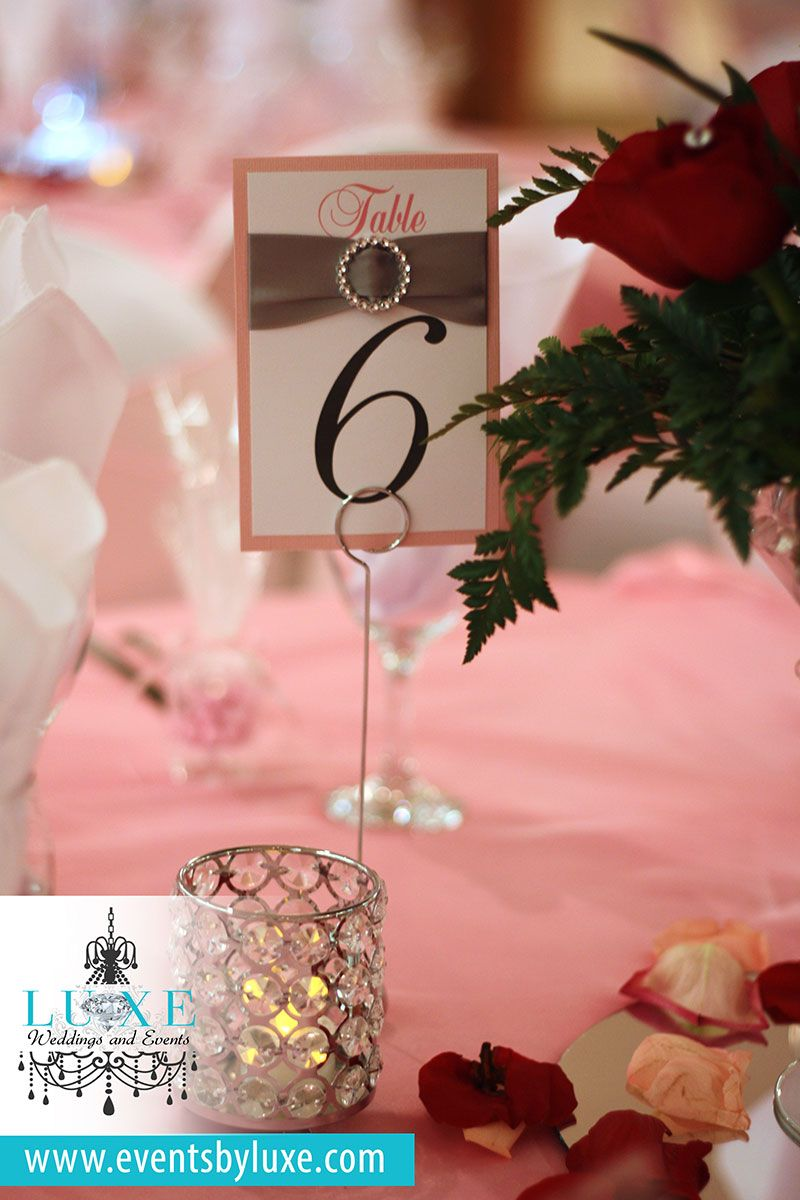 Pink And Silver Table Numbers Number Ideas Bling Quinceanera