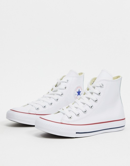 Converse Chuck Taylor All Star Hi White Leather Sneakers ...