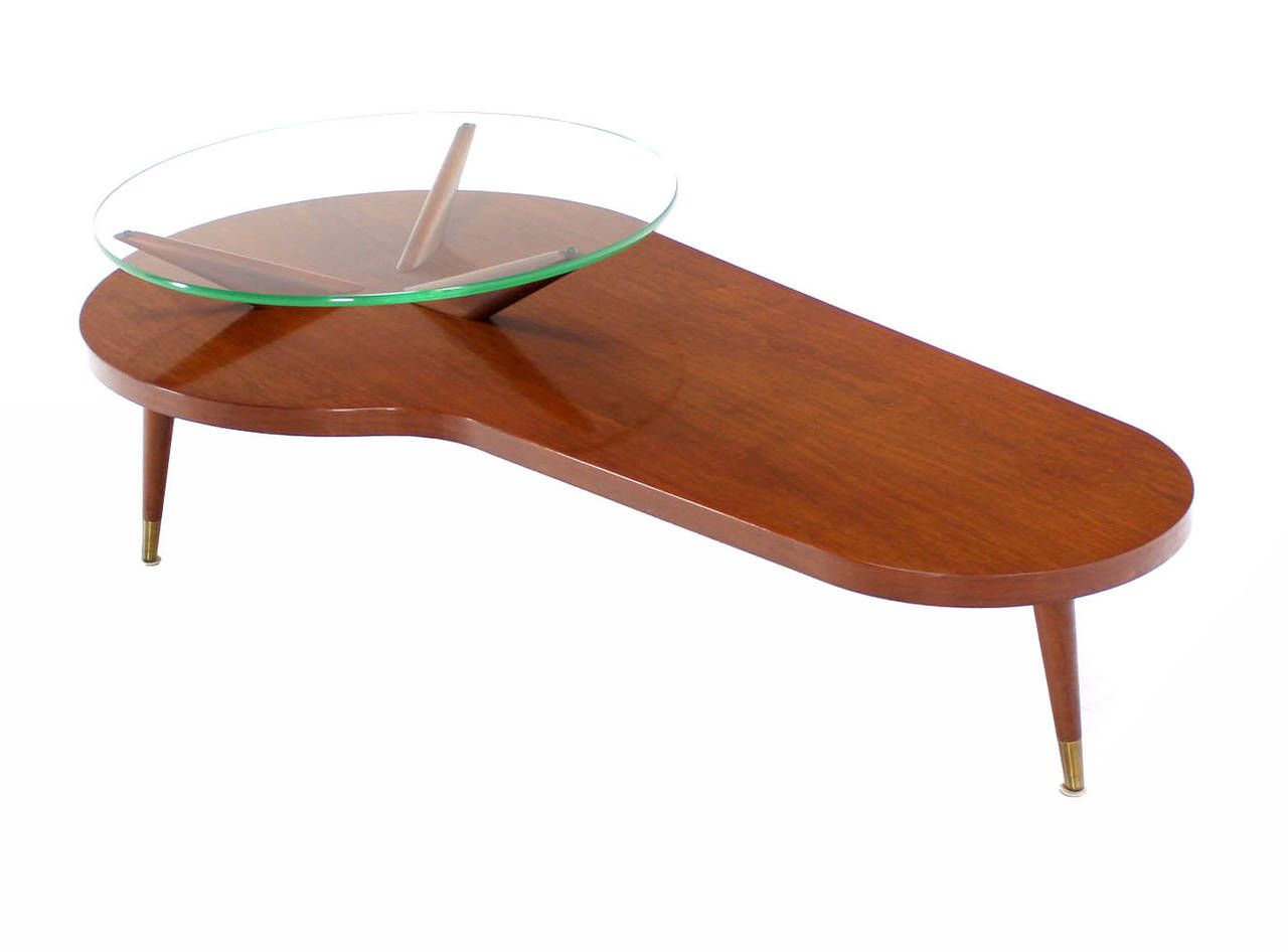 Midcentury Modern Walnut Organic Kidney Shape Coffee Table With Glass Top  Image 10