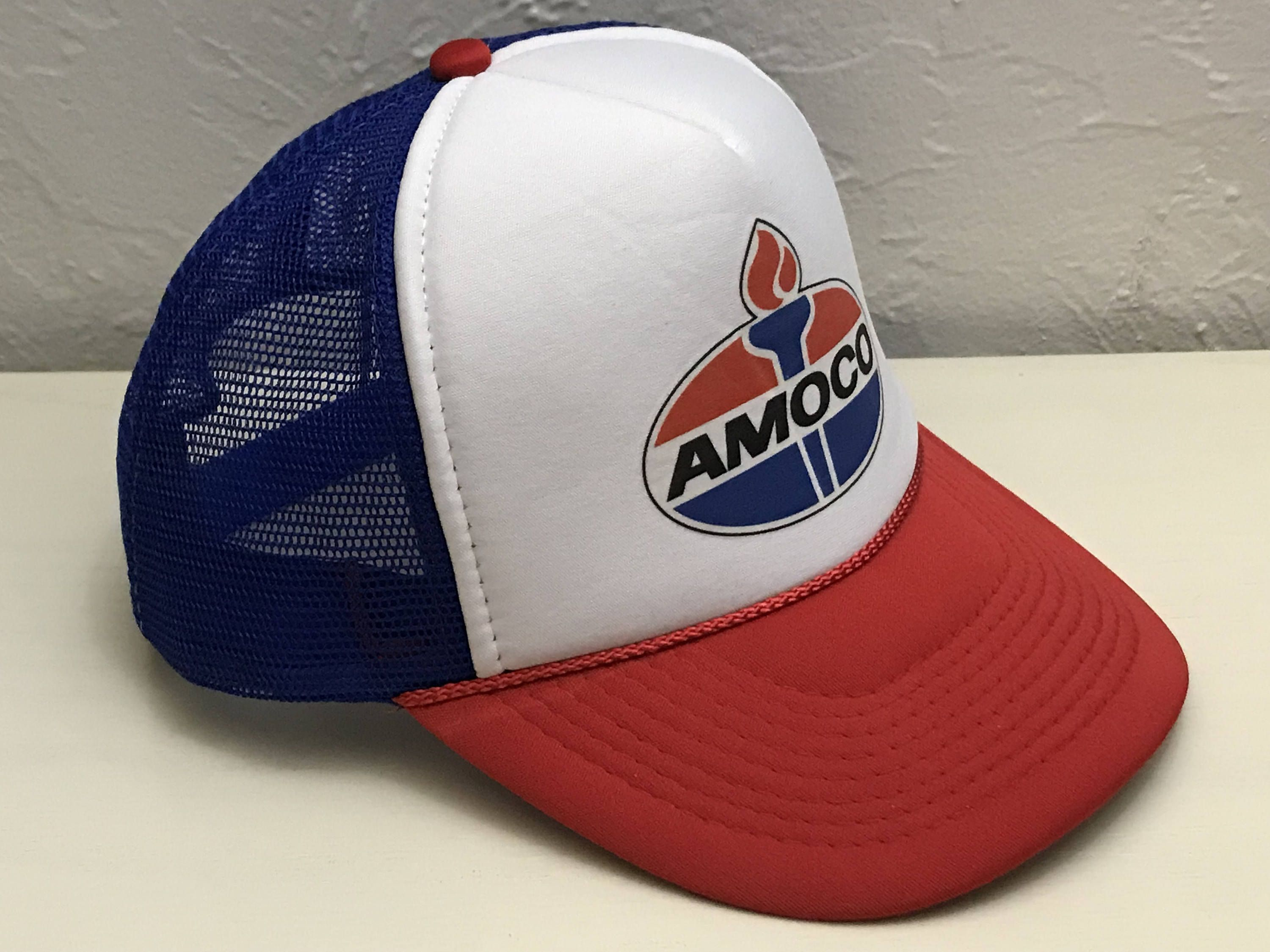 Vintage AMOCO Gasoline Trucker Hat   Red White and Blue Amoco Torch Logo    Mesh Snapback   Rad Retro Gas Station Oil Company Baseball Cap 49d16d226daf