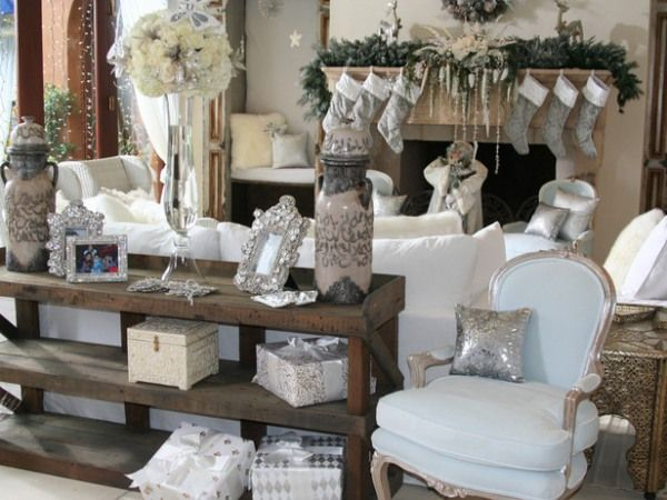 brooke burkes white and silver christmas holiday decorating themes for three celebrity homes on hgtv - White Christmas Decorating Theme
