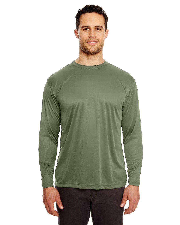 8ad199cc UltraClub Adult Cool & Dry Sport Long-Sleeve Performance Interlock T-Shirt  8422 MILITARY GREEN