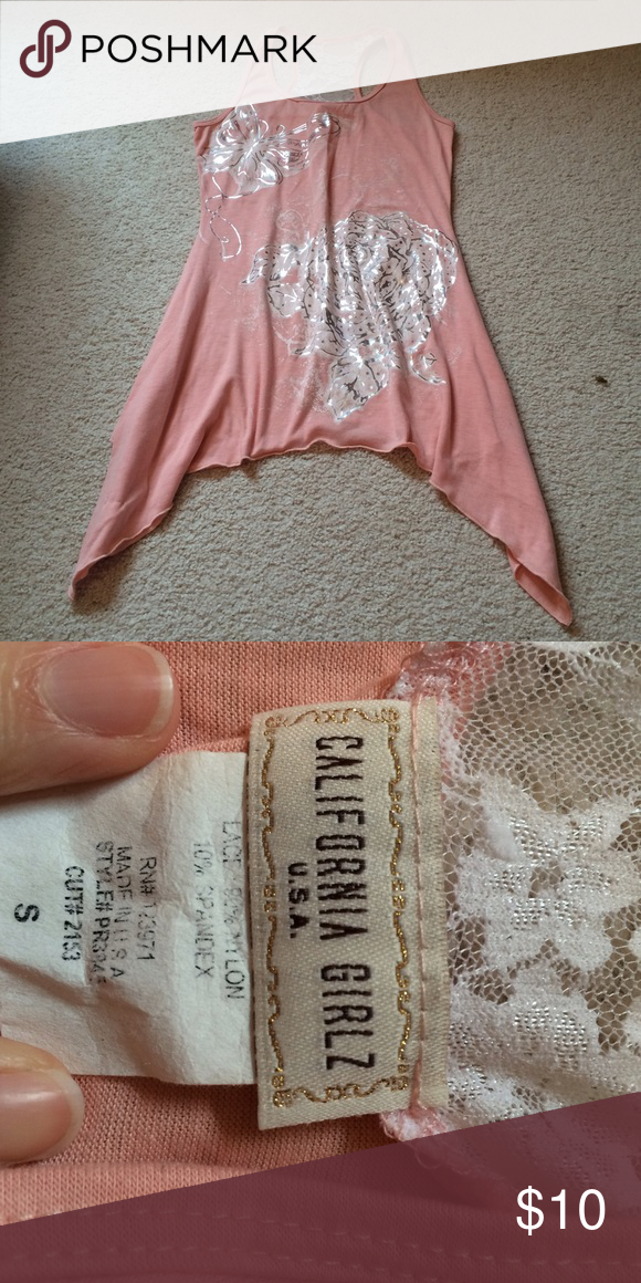 Pink Tier Side Tank Pink top with long sides tank top. Size small. California girlz brand. Smoke free home. Fast shipping. Discounts on bundles. California Girlz Tops
