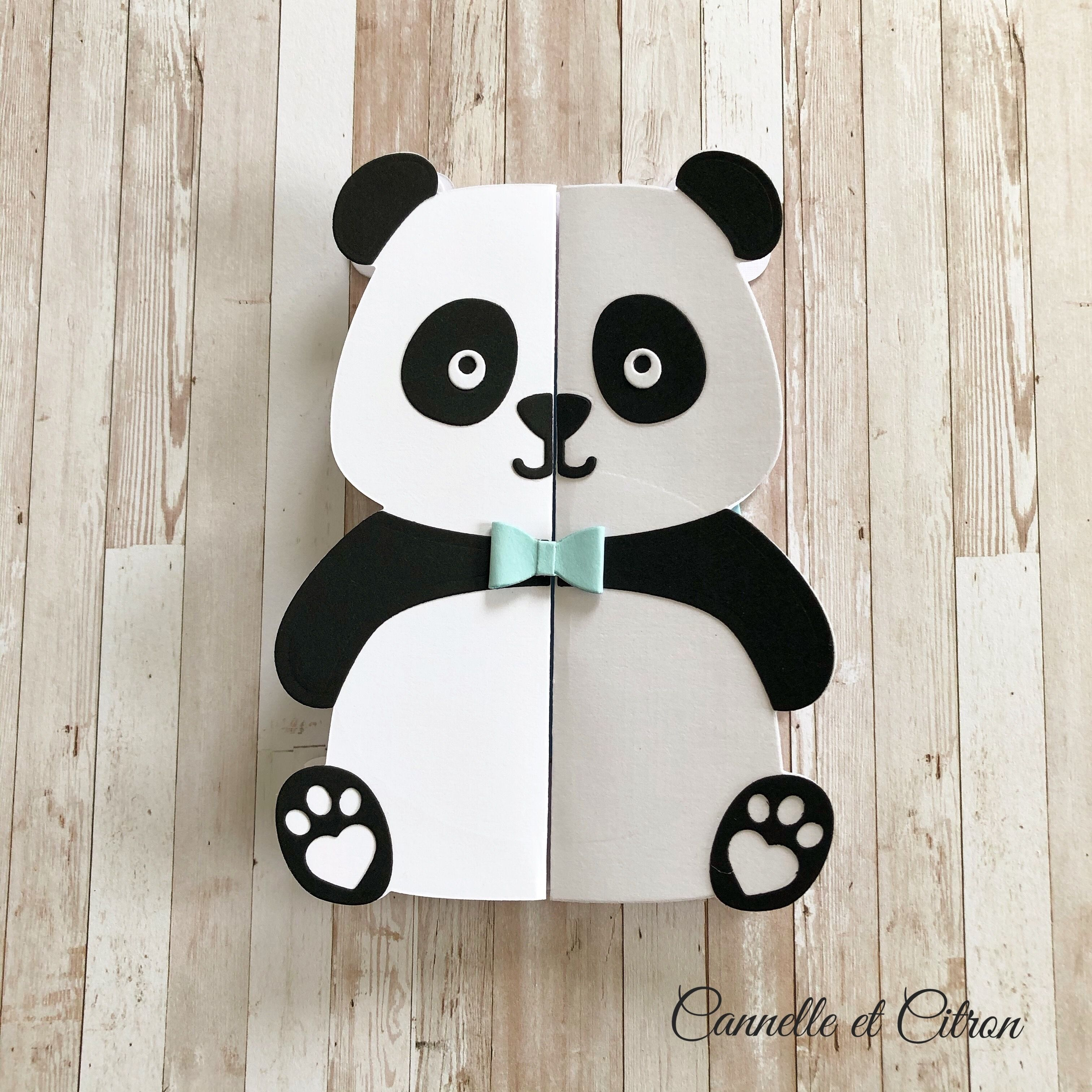 Panda card make-part birthday, birth, thanks, decoration in 19