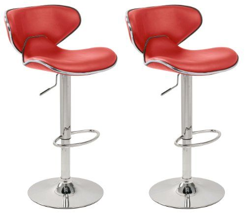 set of 2 red  chrome bahama kitchen  bar stools pair
