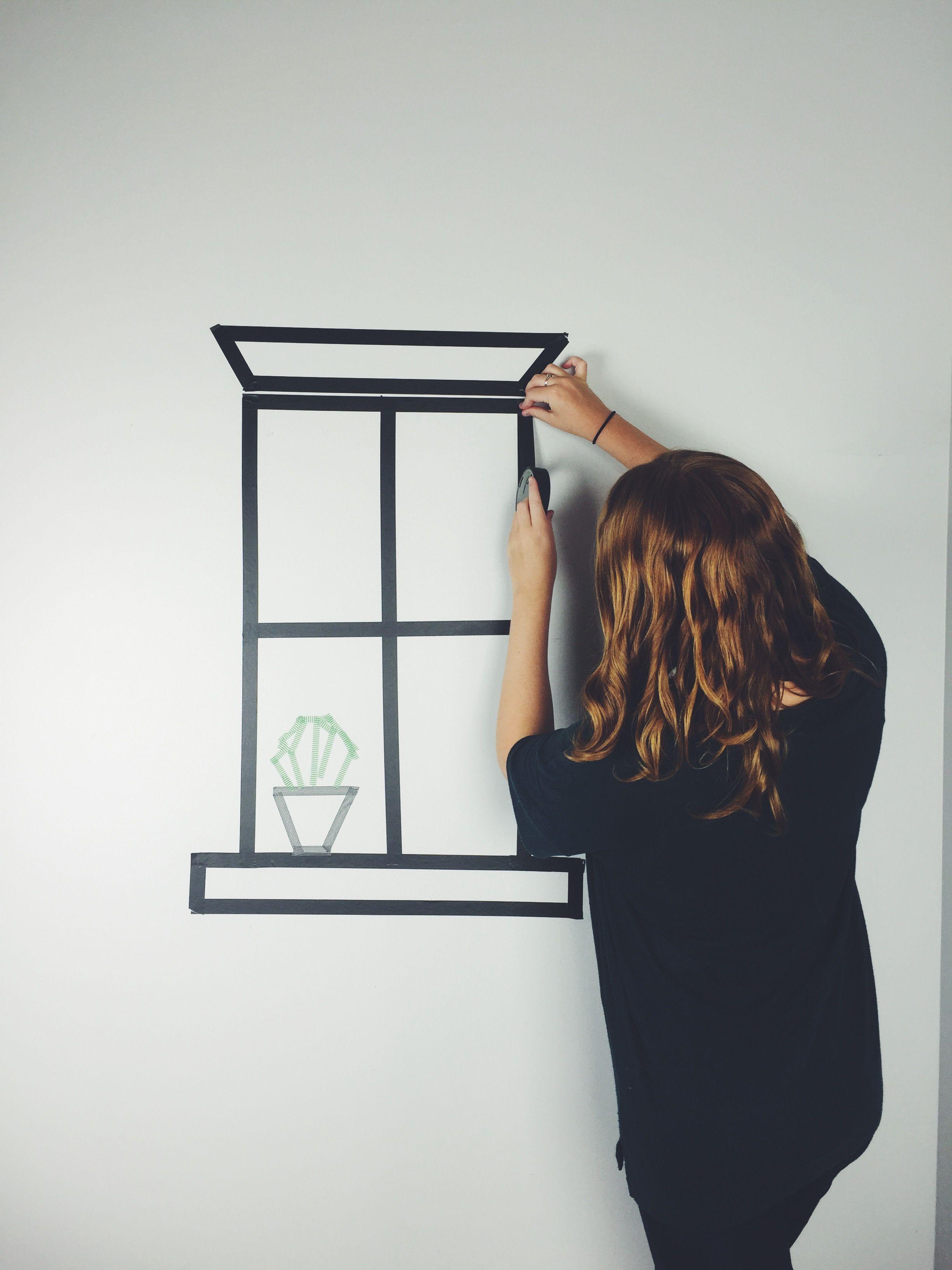 Dorm Wall Art: Washi Tape Windows | Tape wall art, Washi tape wall ...