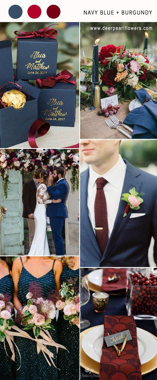 Top 10 Navy Blue Wedding Color Combo Ideas for 2018 | Burgundy ...