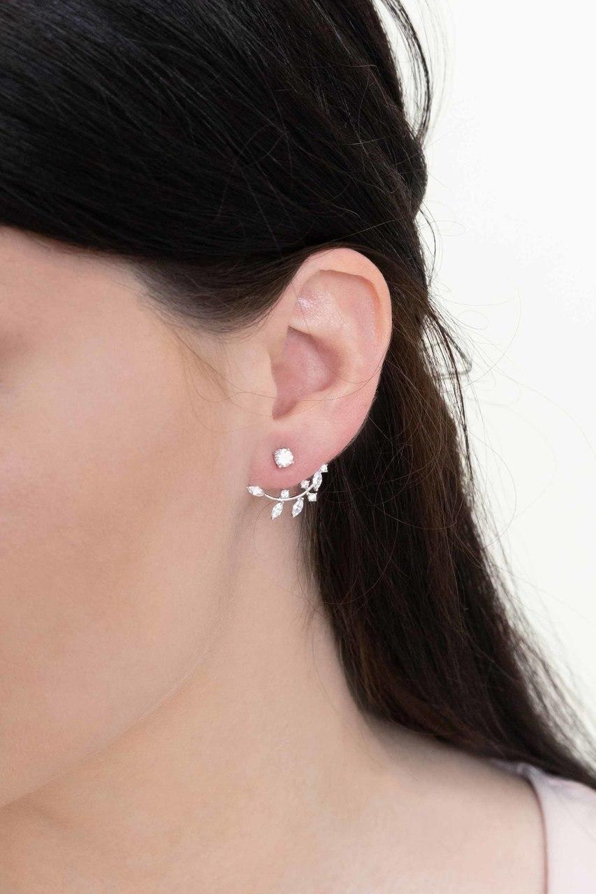 women trendy jewelry double sided earring silver stud earring gold silver ear jackets with crown fashion ear jacket front back earrings
