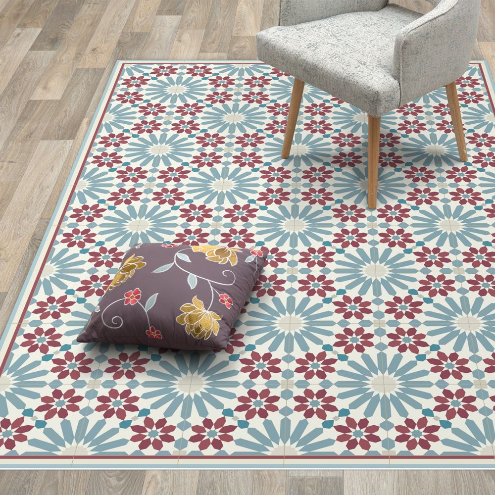 Vinyl Area Rug With Moroccan Tiles In