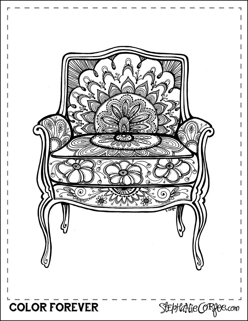 Free Vintage Chair Coloring Page Download By Stephanie Corfee Drawing Furniture Coloring Pages August Colors
