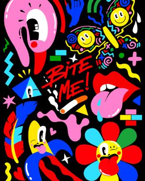 Bite me pop art poster - pop art posters