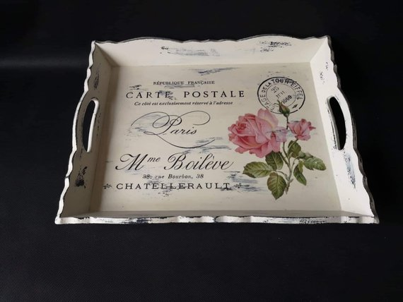 Decoration Carte Postale.Shabby Chic Carte Postale Wood Serving Tray Bed Tray