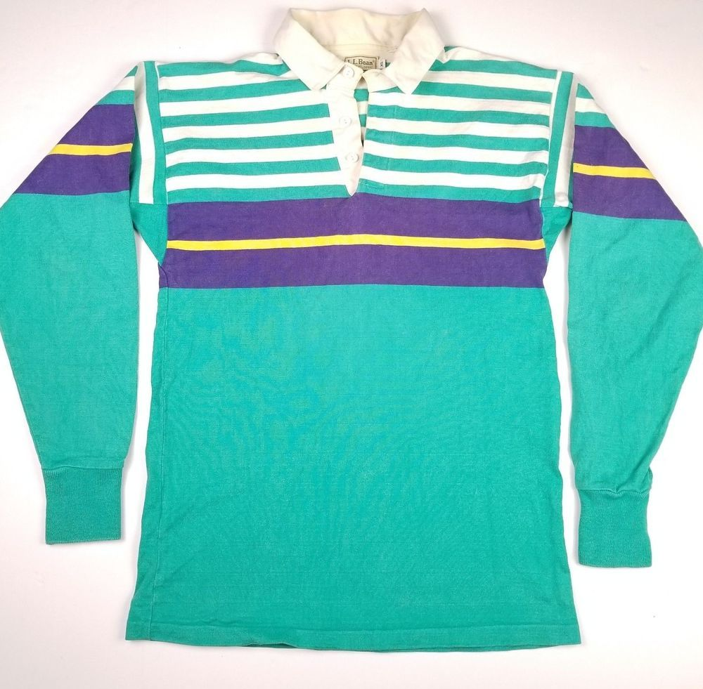 c2d70dbe1 VTG USA LL Bean Rugby Polo Shirt Striped Color Block XL 80s 90s Mens  Colorful #LLBean #PoloRugby #Casual