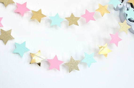 Mint Pink and Gold Twinkle Twinkle Little by DesignElementsByErin